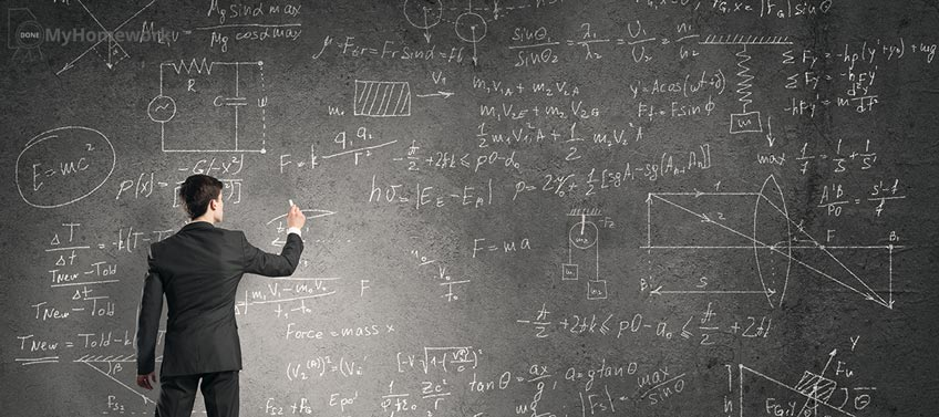 Professor Making Physical Calculations on Blackboard